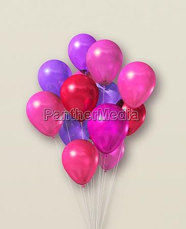 rosa luftballons gruppe auf beige hintergrund