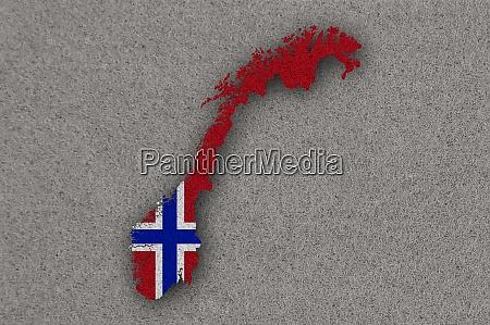 karte und flagge von norwegen auf