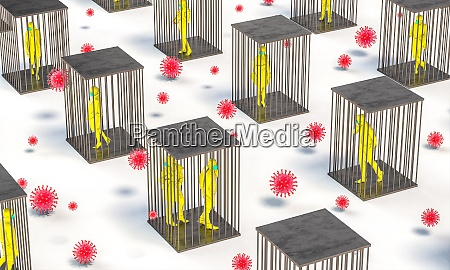 pandemie covid 19 menschen in kaefigen