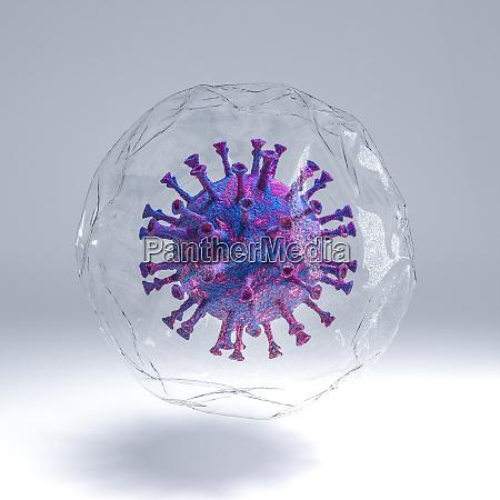 19 viruspandemie coronavirus in einer transparenten