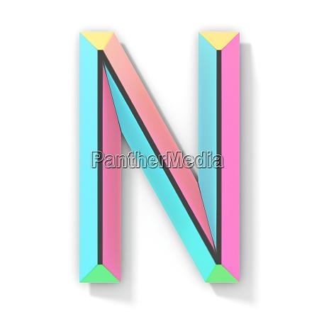 neon farbe helle schrift buchstabe n