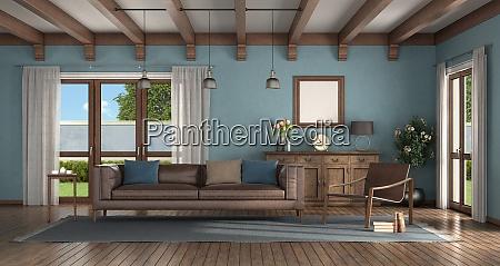wohnzimmer im klassischen stil mit blauen