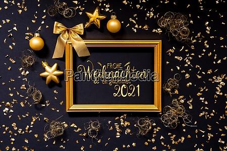 rahmen goldene weihnachtsdekoration ball glueckliches 2021