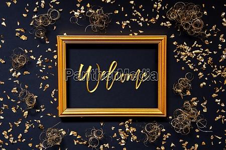 rahmen golden glitter weihnachtsdekoration text willkommen