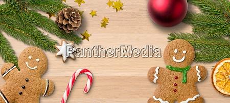 lebkuchen maenner und weihnachtsdekoration