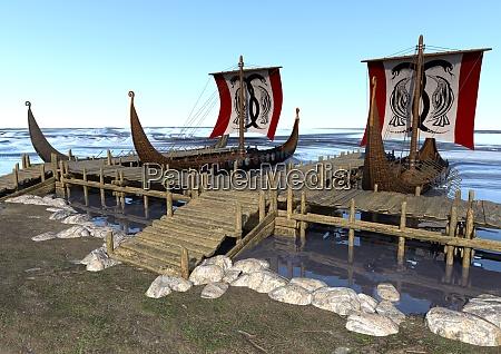3d rendering wikingerboote