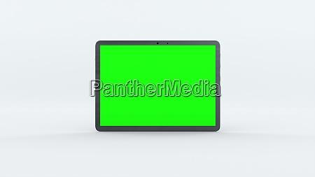 demonstration eines tablets mit gruenem bildschirm