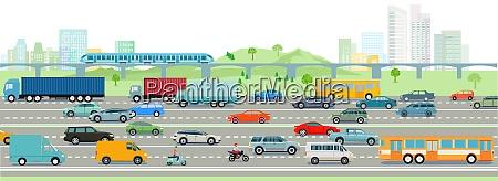 autobahn und grossstadt illustration