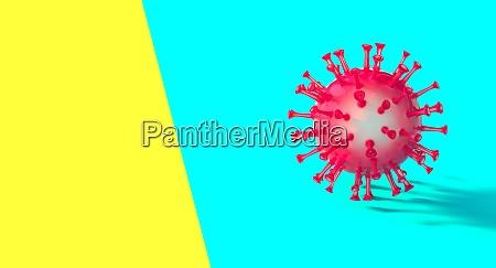 rote covid 19 virus auf blauem