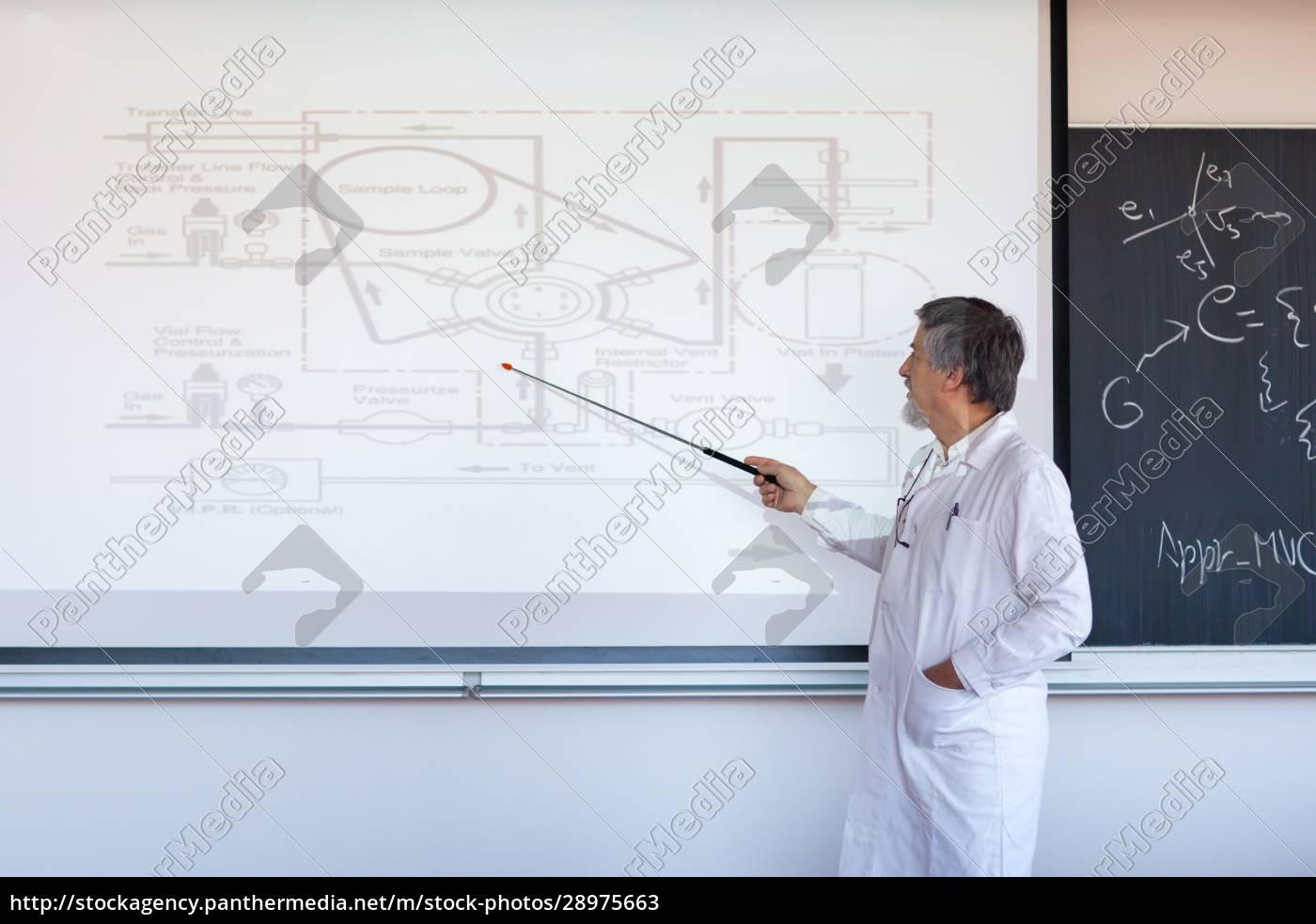 senior, chemie, professor, schreiben, auf, der - 28975663