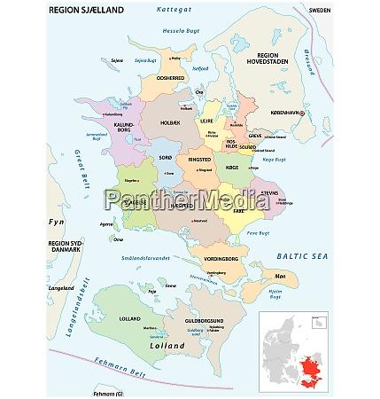 vektor verwaltungskarte der region sjaeland daenemark