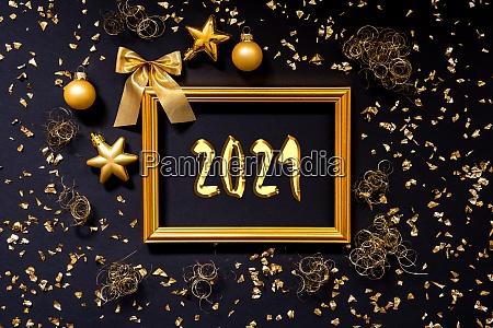 rahmen golden glitter weihnachtsdekoration ball text