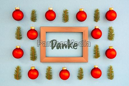 weihnachten textur ball zweig rahmen danke