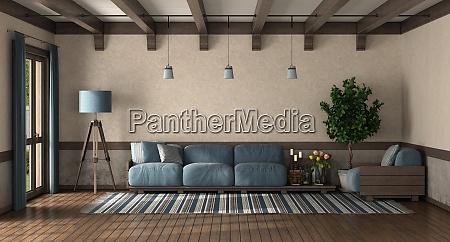 wohnzimmer im retro stil mit holzsofa