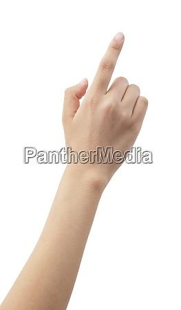 die hand einer frau zeigt auf