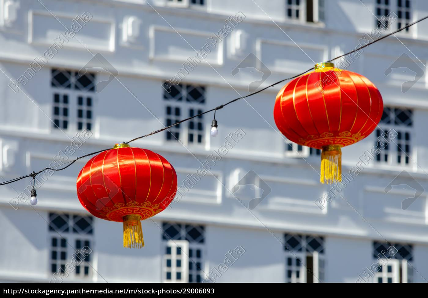 red, lantern, with, colonial, building, at - 29006093