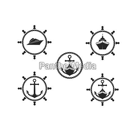 nautische vektor logo symbol der maritimen