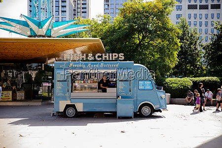 blue fish and chips van parked