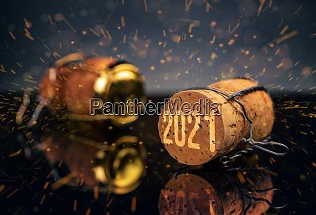 champagnerkork mit jahr 2021