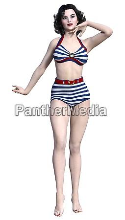 3d rendering pinup girl auf weiss