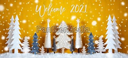 banner weihnachtsbaeume schneeflocken gelber hintergrund willkommen