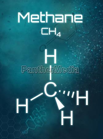 chemische methanformel auf futuristischem hintergrund
