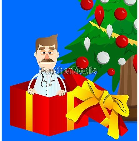arzt in einer geschenkbox