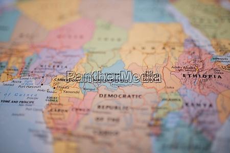 die zentralafrikanische republik auf einer karte