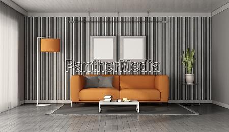 orange sofa in einem modernen wohnzimmer