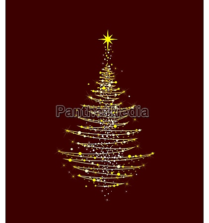 weihnachtsbaum leuchtet golden