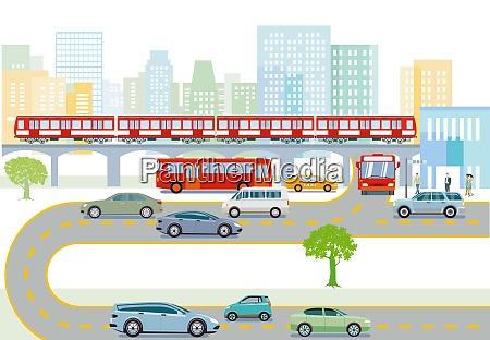 transport mit hocherhobenen zuegen bussen und