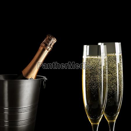 silvesterfeier hintergrund mit champagner