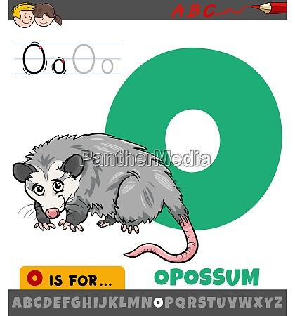 buchstabe o aus alphabet mit opossum