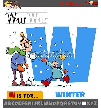 buchstabe w aus alphabet mit wintersaison