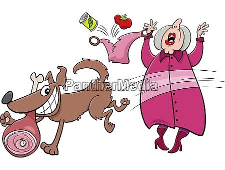 hund pet cartoon illustration charakter stehlen