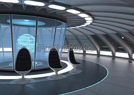 3d rendering eines science fiction panoramaraum
