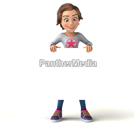 spass 3d cartoon teenager maedchen mit