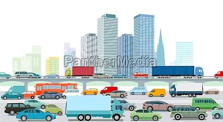 autobahn, mit, einer, großstadt-illustration - 29033375
