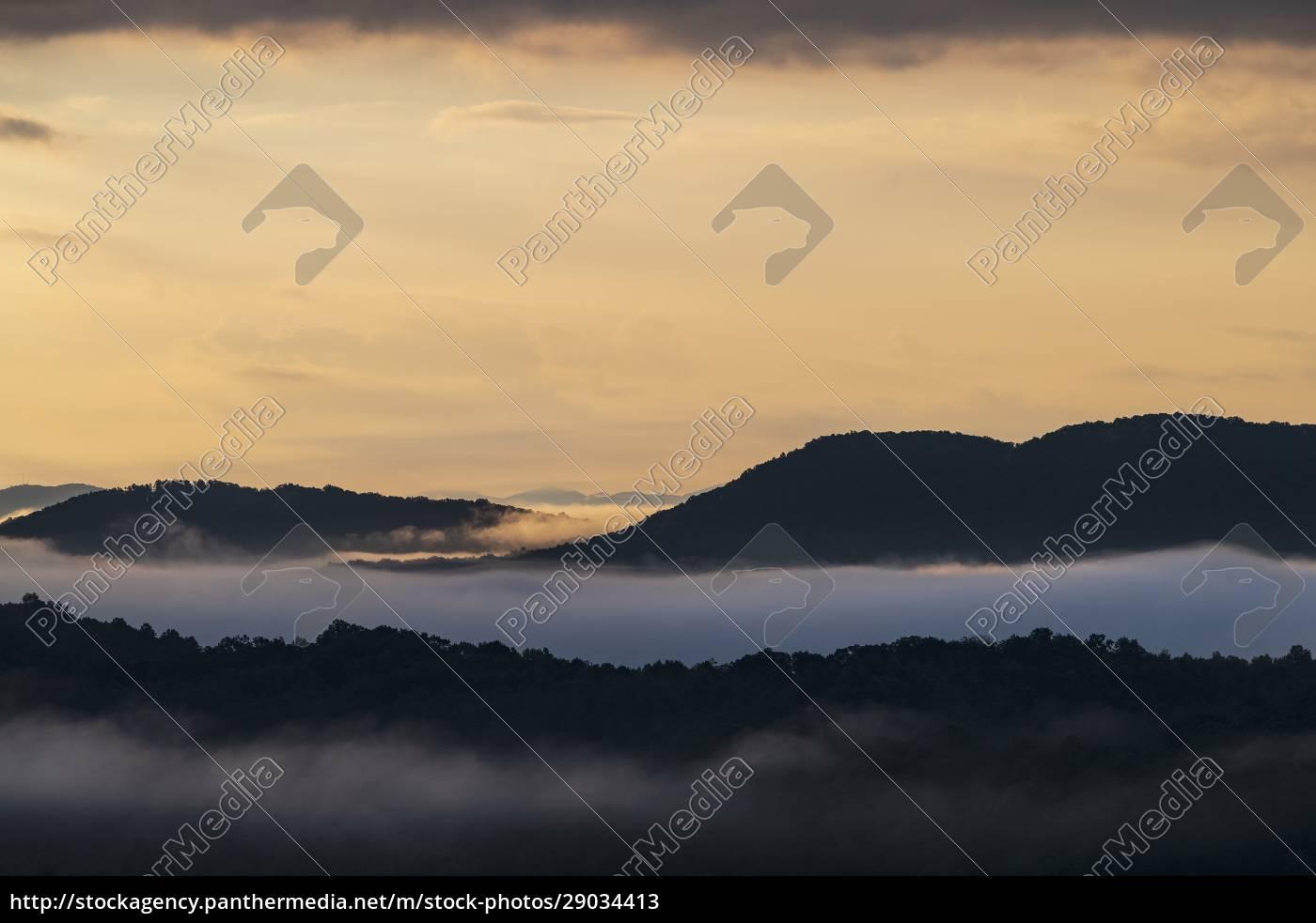 usa, georgia, blue, ridge, mountains, bei, sonnenaufgang, mit - 29034413