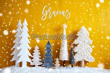 weihnachtsbaeume mit spanischer kalligraphie gracias bedeutet