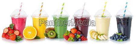 sammlung von fruchtsaft smoothies trinken viele
