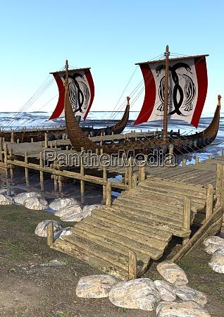 3d rendering vikings boote