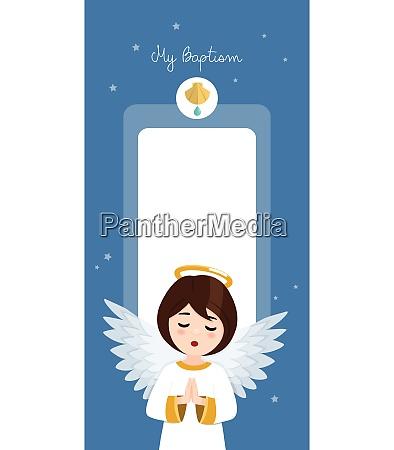 betender engel taufe vertikale einladung auf