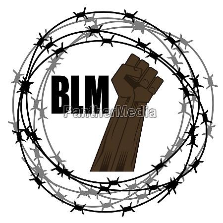 black lives matter banner mit stacheldraht