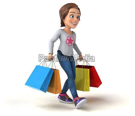 spass 3d cartoon teenager maedchen einkaufen