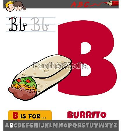 buchstabe b aus alphabet mit cartoon