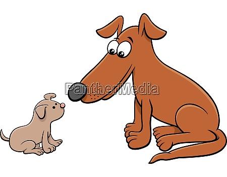 cartoon illustration von kleinen welpen und
