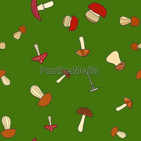 abstrakte doodle pilz nahtlose muster