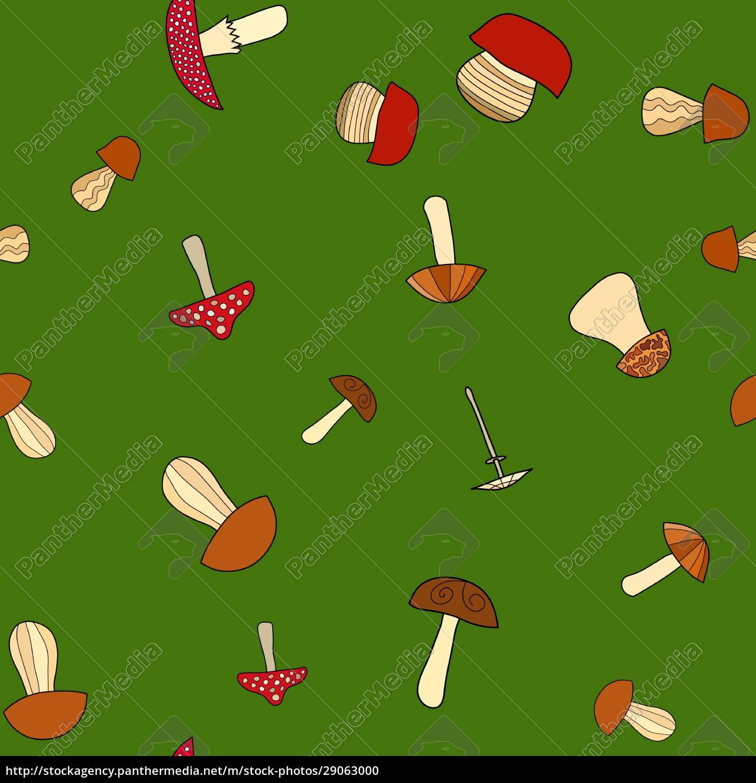abstrakte, doodle, pilz, nahtlose, muster - 29063000