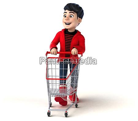 spass 3d cartoon teenager junge einkaufen